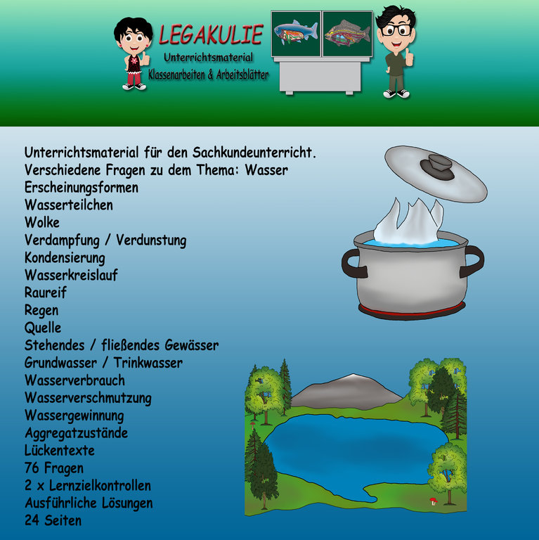 HSU Schulprobe Lernzielkontrolle Klassenarbeit Test Wasser
