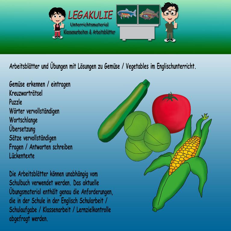 Englisch Arbeitsblätter Übungen Vegetables Gemüse Lösungen