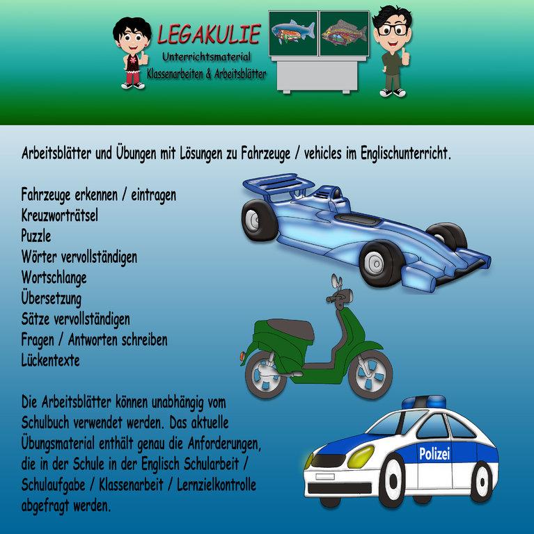 Englisch Arbeitsblätter Vehicles Fahrzeuge Lösungen