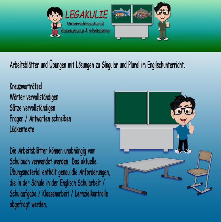 Englisch Arbeitsblätter Singular Plural Unterrichtsmaterial