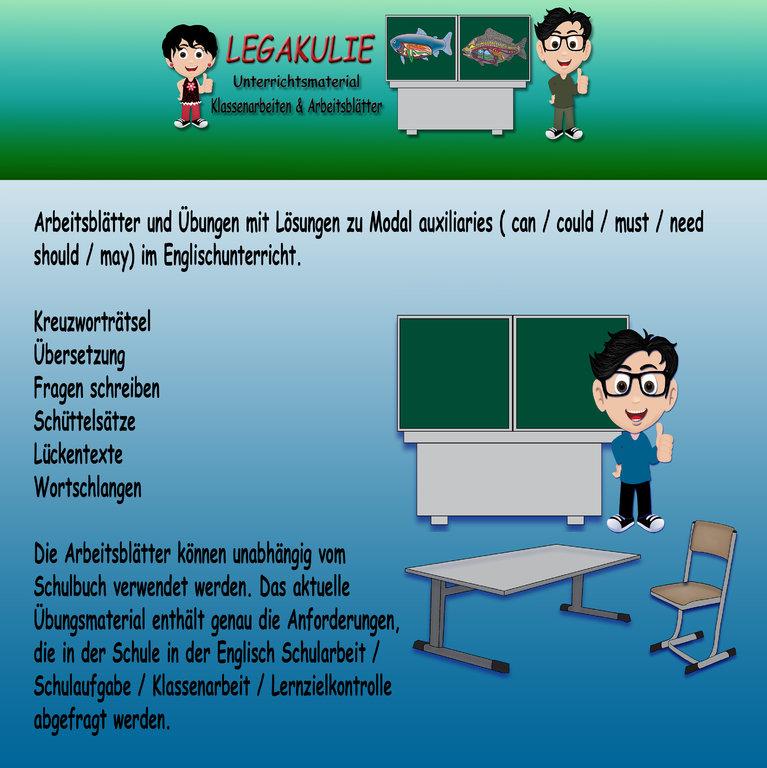 Englisch Grammatik Modal auxiliaries 6.Klasse Uebungsblaetter