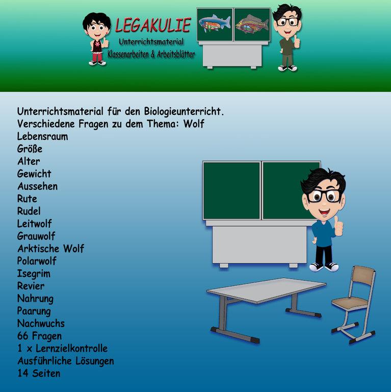 Biologie Wolf Klassenarbeit Lernzielkontrolle Arbeitsblatt PDF