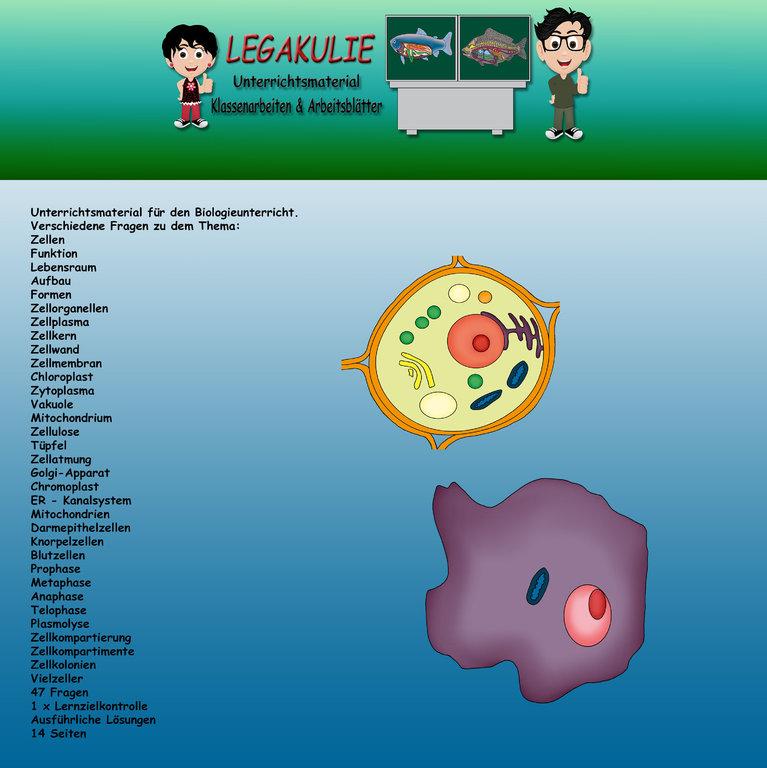 Biologie Zellen Klassenarbeit Schularbeit Lernzielkontrolle PDF