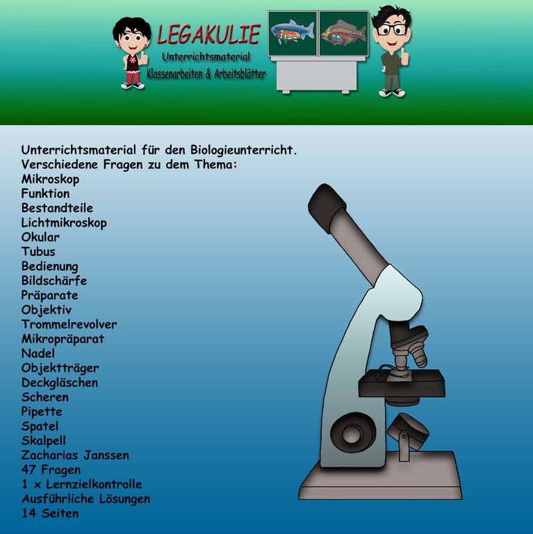 Biologie Mikroskop Klassenarbeit Lernzielkontrolle PDF