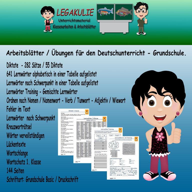 Deutsch 1.Klasse Rechtschreibung Diktate Lernwörter Wortschlange