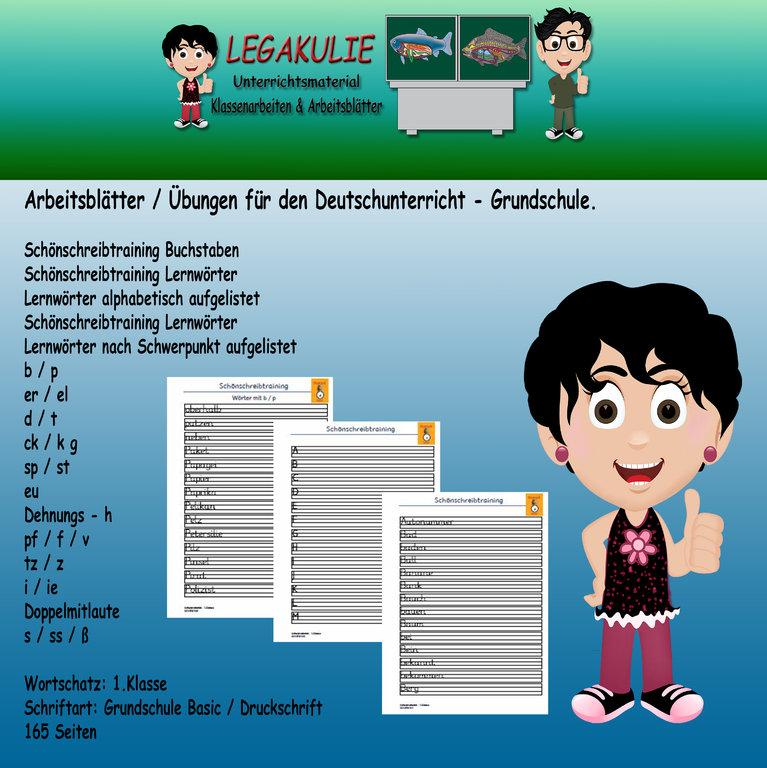 Deutsch 1.Klasse Schönschreibtraining Arbeitsblatt Lernwörter PDF
