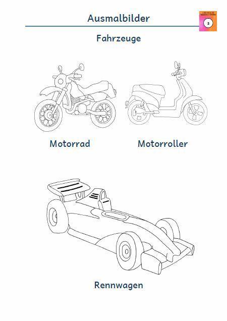 Kostenloses Blatt Ausmalbild Motorrad Motorroller Rennwagen Pdf