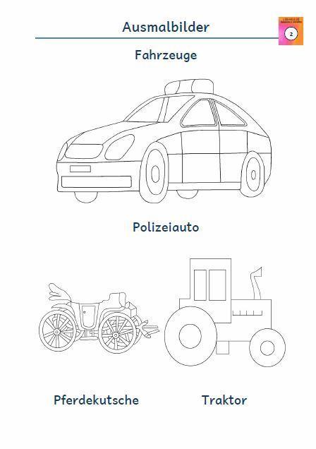 Kostenloses Blatt Ausmalbild Polizeiauto Pferdekutsche Traktor