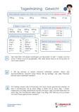 Tagestraining Gewicht Mathematik 4.Klasse Aufgaben