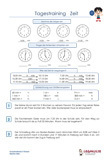 Tagestraining Zeit / Uhr Übungsblätter Schulprobe PDF