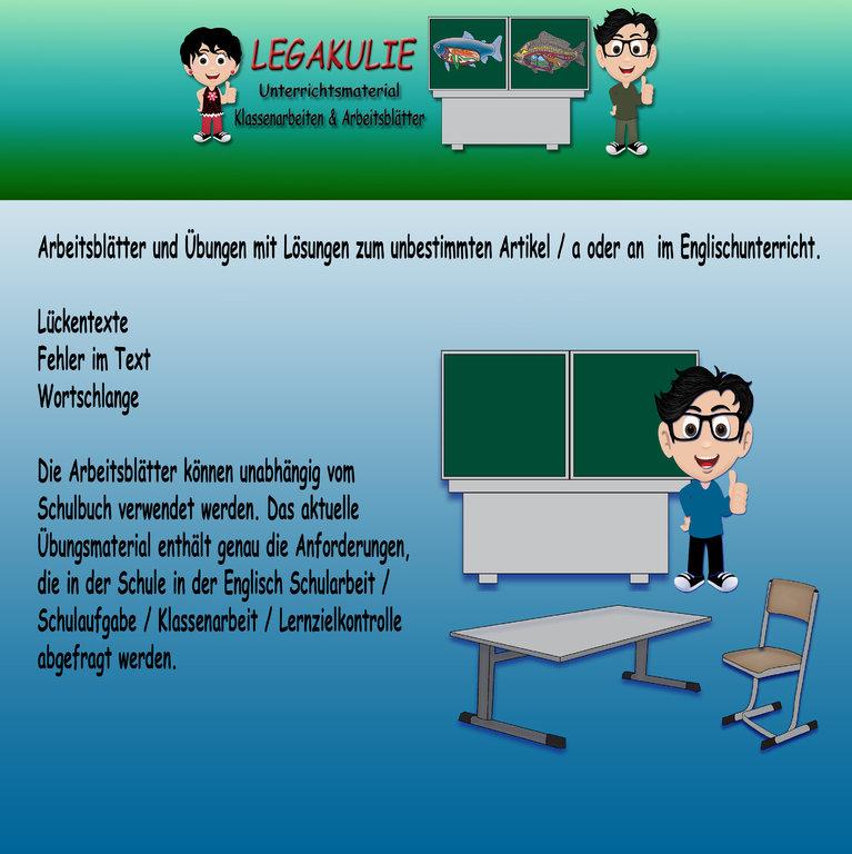 Englisch 5.Klasse Arbeitsblatt Übungen Klassenarbeit Schularbeit