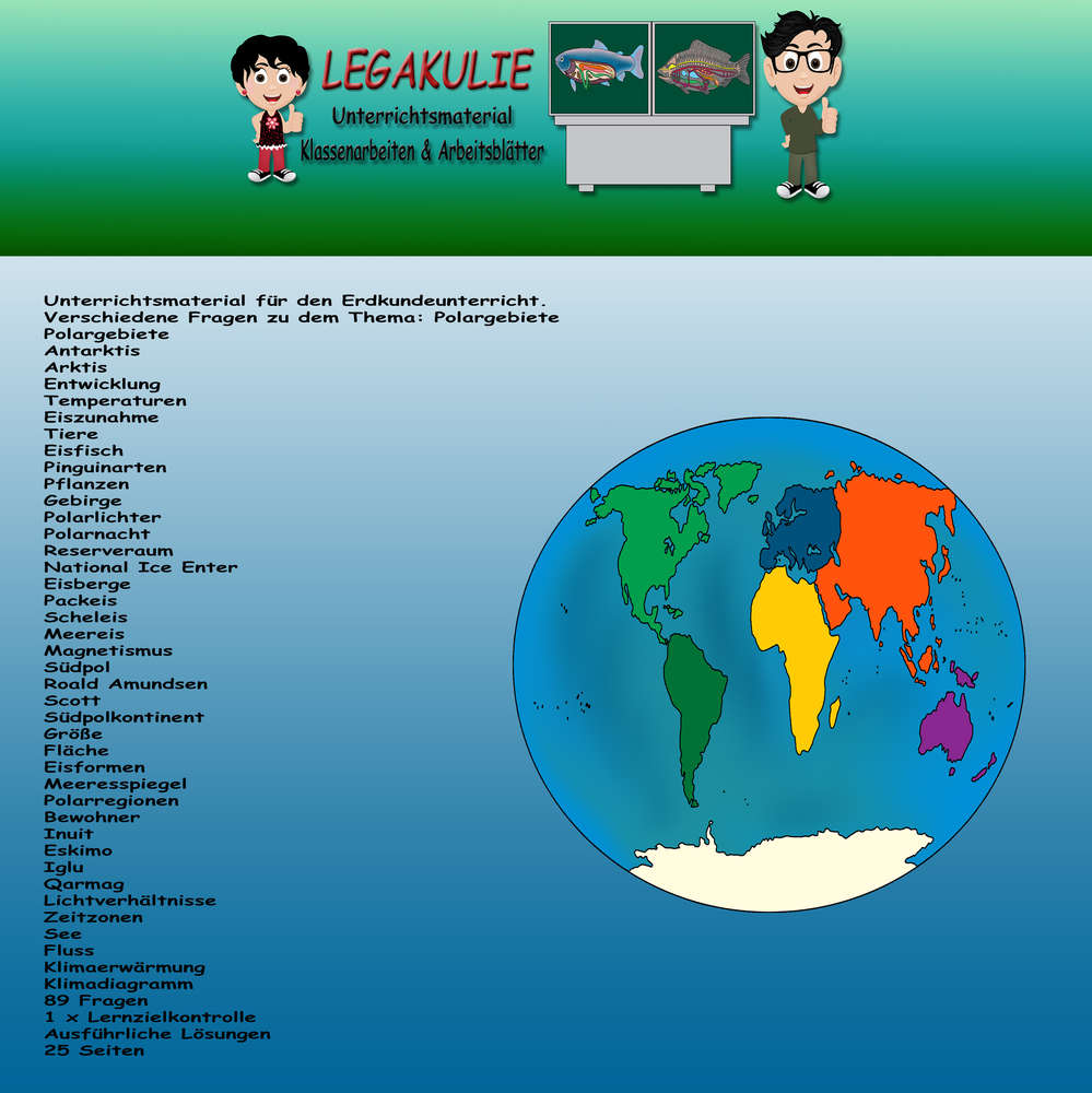 Polargebiete Klassenarbeiten Schularbeit Arbeitsblatt PDF