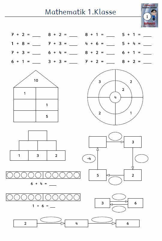 Kostenloses Arbeitsblatt 1.Klasse Mathematik Addition PDF