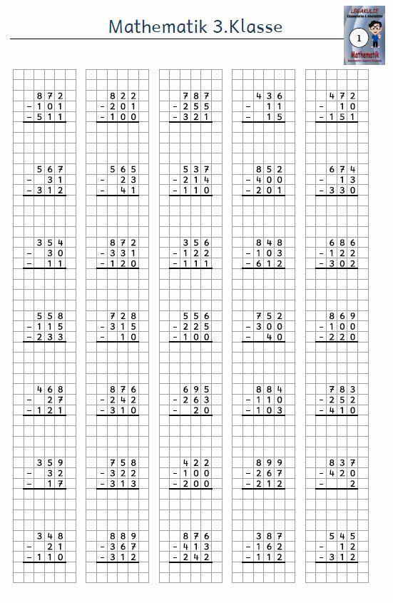 Kostenloses Arbeitsblatt 3.Klasse Mathematik Subtraktion PDF3