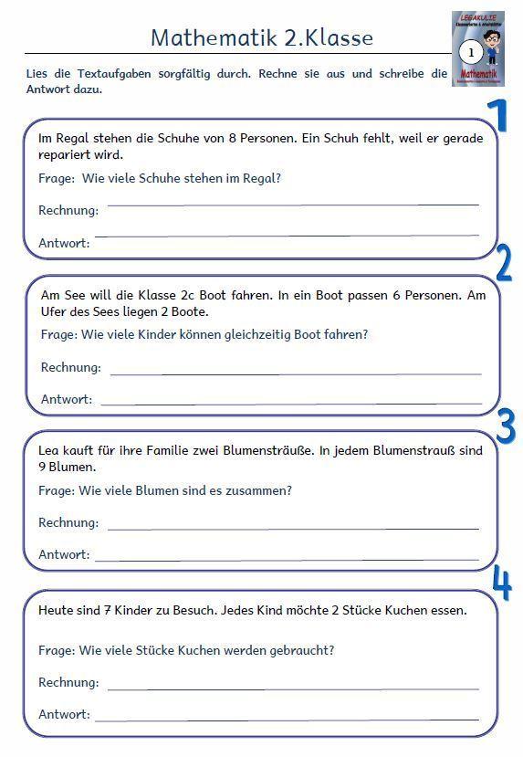 Kostenloses Arbeitsblatt 2.Klasse Mathematik Textaufgaben PDF