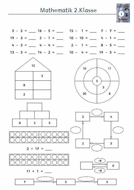 Kostenloses Arbeitsblatt 2klasse Mathematik Subtraktion Pdf